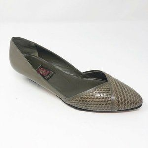 Anne Klein Womens Comfort Flat Shoes Green Leather